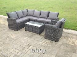 7 Sofa D'angle De Rotin De Seater Réglé Oblong Chaise Basse Extérieure Meubles Gris