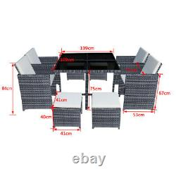 9/11 Pièces Rattan Garden Furniture Set Cube Dining Chairs Table Outdoor