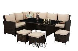 9 Seat Grey Modular Corner Rattan Dining Set Garden Sofa Meubles Extérieurs