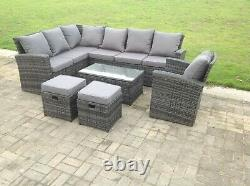 9 Seater High Back Wicker Rattan Garden Furniture Sets Coffee Table Outdoor Grey