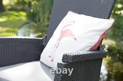 Allibert De Keter Vermont Rattan Reclining Duo Coffee Outdoor Garden Furniture