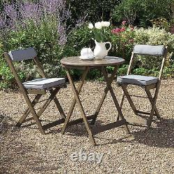 Bistro Set Grey Oiled Polding Garden Table And Chairs Fsc Durable Hardwood