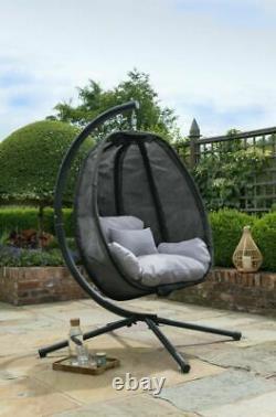 Black Swing Cocoon Suspension Egg Chaise Textilene Meubles De Jardin En Ou En Plein Air