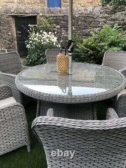 Bramblecrest 6 Sièges Gris Rattan Restaurant Jardin Patio Meubles Set 2,5k Nouveau
