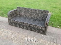 Bras Incurvé 3 Seater Wicker Rattan Sofa Set Garden Furniture Grey Patio Outdoor