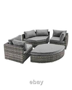 California Curved Sofa/day Bed Garden- 7-10 Personnes In High Demand Grey/natural