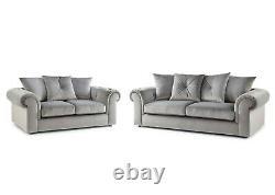 Canapé En Peluche Grise 3+2 Seater Set Tissu Suite Coussins Chaises-libres De Livraison Uk-002