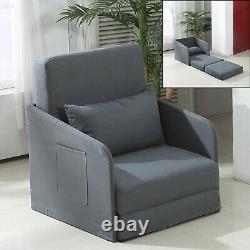 Canapé Simple Lit Convertible Chaise Coussin Oreiller Chambre D'hôtes Léger Gris
