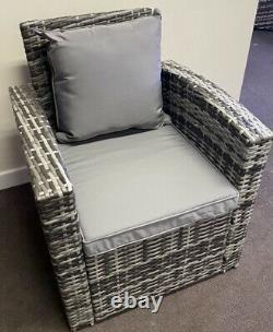Canapé-salon 4 Seat Gris Rattan Chaise Patio Meubles De Jardin Extérieur, Coussins
