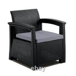 Chaise D'armoire De Style Rattan Gris Coussin Rembourré Meubles De Jardin Extérieur Patio