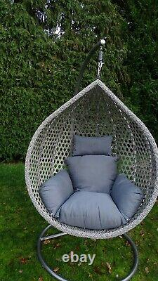 Chaise D'oeuf Swing Chair Grey Rattan With Cushion & Cover
