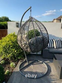 Chaise De Jardin De Patio D'oeufs Gris Rattan Weave Coussin D'oeufs