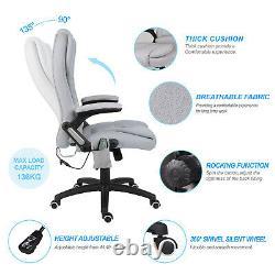 Chaise De Massage Électrique Inclinable Dos Haut Coussin Tissu Avec Télécommande Gris