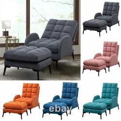 Chaise En Tissu/velvet Chaise Inclinable Lounger Fauteuil Coussin Siège Sleeper Canapé+footrest