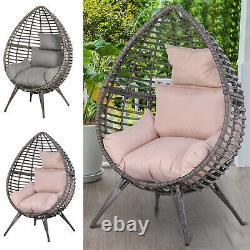 Chaise Lacrymogène En Osier De Rotin Chaise Longue Soft Cushioned Poolside Patio Seat