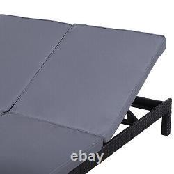 Chaise Longue À Double Chaise Réglable Outsunny 2 Person Rattan Avec Coussin Noir