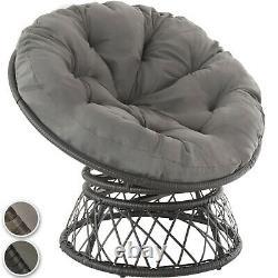 Chaise Pivotante Wicker Rattan Bol-shaped Garden Seat Round Cushion Steel Outdoor