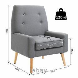 Chaise Rembourrée À Simple Coussin Nordique Fauteuil En Bois Bouton Tufted Seat Linge De Lit