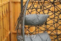Chaise Suspendue D'oeuf De Patio De Oscillation De Rotule De Rattan Avec L'extérieur Intérieur D'intérieur Decushion