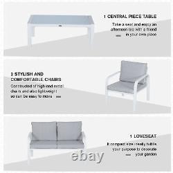 Chaises À Manger De Jardin En Aluminium De 4 Pcs Canapé De Table De Dessus En Verre Avec Coussins Blanc