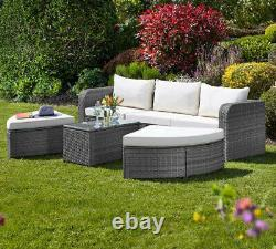Cinq Section Rattan Daybed Garden Outdoor Patio Furniture Set Table Chair Lounge
