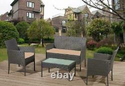 Conservatoire 4 Pièce Extérieur Rattan Sofa Garden Furniture Patio Set Table Chairs