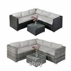 Corner Rattan Canapé Set De Meubles De Jardin Extérieur Patio L-shaped Avec Table 192cms