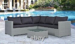 Corner Rattan Canapé Set De Meubles De Jardin Extérieur Patio L-shaped Brown Grey