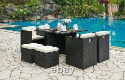 Cube Rattan Garden Furniture 9 Piece Set Colour Choice Avec Couverture Gratuite Incluse