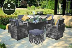 Cube Rattan Garden Meubles Ensemble Chaises Canapé Table Extérieure Patio Wicker 8 Seater