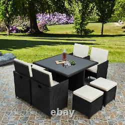 Deluxe 9 Pièce 8 Seater Rattan Cube Dining Table Garden Furniture Patio Set