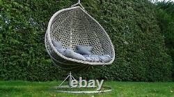 Double Chaise D'oeuf Swing Chair Rotin Gris Avec Coussin Et Couverture