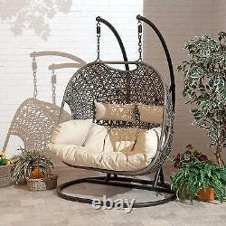 Double Cocoon Chair Swing Wicker Rattan Hanging Garden Furniture Coussin