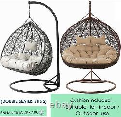 Double Rattan Garden Suspension Egg Chaise Relaxant Patio Swing Hammock 2 Seater