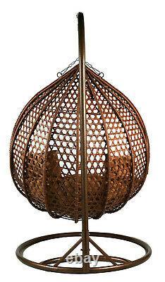 Double Rattan Suspension Egg Chaise Brown Gris Coussin Patio Jardin Intérieur Extérieur