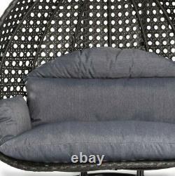 Double Rattan Swing Patio Garden Hanging Egg Chair Coussin Meubles Extérieurs