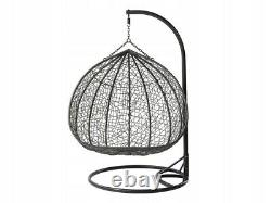 Double Rattan Swing Patio Garden Tissage Hanging Egg Chair Cocoon Orta Grey