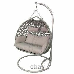 Double Swinging Open Weave Rattan Egg Chair Avec Coussins En Gris