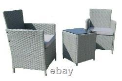 Ensemble De Meubles De Jardin 3pcs Wicker Outdoor Patio Rattan Avec Chaises Table De Coussin