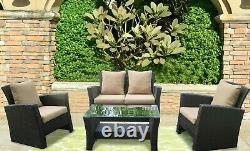 Ensemble De Meubles De Jardin De Rattan 4pc Chaise De Table Extérieure Sofa Conservatory Patio Set