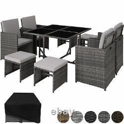 Ensemble De Meubles De Jardin De Rattan Cube Wicker 8 Seater Table Coussins Maison Patio Nouveau