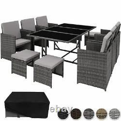 Ensemble De Meubles De Jardin En Poly-rattan Seater 6 Chaises 4 Tabourets Table