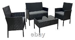 Ensemble De Meubles De Jardin Rattan 4 Pièces Canapé De Table Pour Extérieur Noir