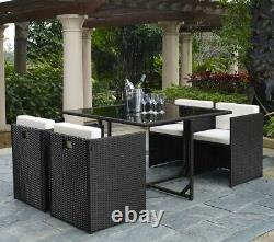Ensemble De Meubles De Jardin Rattan Cube 4 Seater Avec Table À Manger Et Chaises