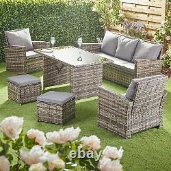 Équipement De Jardin Extérieur 7 Seater Patio Rattan Canapé Meubles Chaises De Table