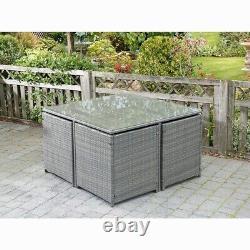 Extérieur Et Intérieur Rattan Effect Garden 4 Seater Cube Ensemble Avec Table Et Coussins