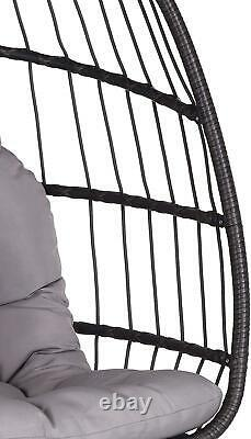 Extérieur Jardin Rattan Egg Chair Patio Seat Hanging Folding Hammock Grey Cushion