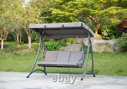 Florian 3 Seat Swing Hammock Heavy Duty Garden Bench Patio Charcoal & Grey