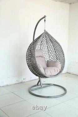 Grande Chaise D'oeuf Suspendu Gris À L'intérieur Ou À L'extérieur 3 Couleurs Disponibles