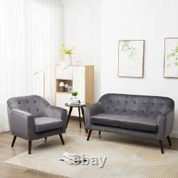 Grey 2 Seater Sofa Chair Rembourré Coussin Sofas Family Office Couch Bed Sleep